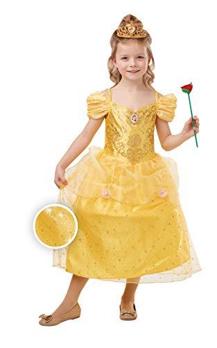 Rubies Disfraz oficial de princesa Disney Belle con purpurina y brillo para niñas