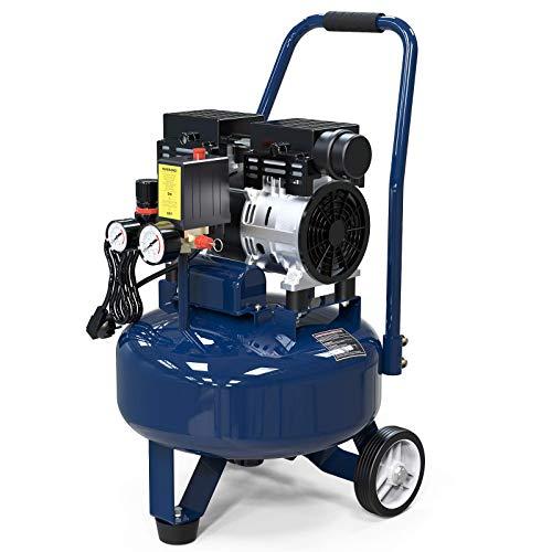 4.5 Gallon Ultra Quiet Air Compressor,1.0 HP, 20L Oil-Free Air Tools, Max 116 PSI Pressure, 63 Decibel Long Life Electric Air Compressor W/Wheel for Garage