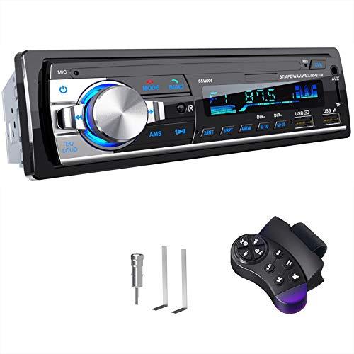 Radio Coche Autoradio Bluetooth Manos Libres, CENXINY 4 x 65W RDS Radio de Coche Bluetooth 5.0 LCD con Reloj, Soporte USB/AUX en FM/MP3/WMA/WAV/MPE