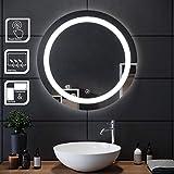 SIRHONA Miroir Rond Salle de Bain Tactile 70x70cm Lumineuse LED Lumineuse Miroir Miroir de Maquillage avec capteur de contrôle Tactile, antipoussière et Anti-buée, lumière Blanche