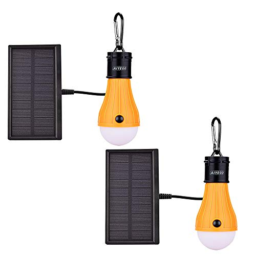 AIYEGO Portable Solar Lights Outdoor, Waterproof 165LM Dimmable Solar Light Bulb with 1200mAh 18650 Rechargeable Battery for Chicken Coop, Camping, Hiking, Tent etc. (Yellow-2 Pack)