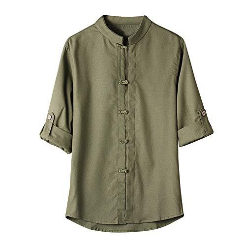 Damen T Shirt, CixNy Bluse Damen Kurzarm Sommer Klassischer Chinesischer Stil Kung Fu Hemd Tang Suit 3/4 Sleeve Leinen Oberteil Tops Weiß M-XXXL (Grün, XXX-Large)