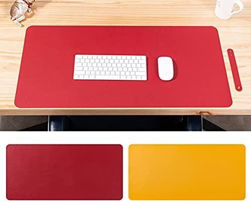 Alfombrilla de escritorio de oficina, antideslizante, impermeable, de piel sintética, protector de escritorio, de doble cara, para oficina, juegos en casa, rojo, amarillo, 100 x 50 cm