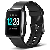 LETSCOM Smart Watch Fitness Tracker Heart Rate Monitor Step Calorie Counter Sleep Monitor Music Control IP68 Water Resistant 1.3' Color Touch Screen Activity Tracking Pedometer for Women Men Kids