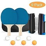 XDDIAS Set da Ping Pong, Set da Ping Pong Portatile - Confezione da 2 Racchette+ 6 Palline...