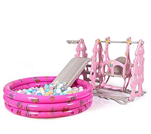 Thole Rutsche Kinder Spielplatz Schaukel Mit Marine Ball Pool Und Basketballkorb Kombination FüR Indoor/Outdoor Garten Rutschbahn,Pink