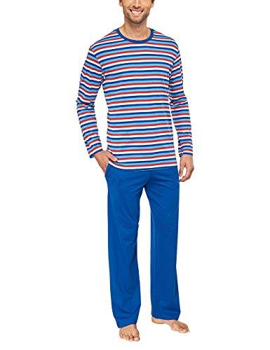 Seidensticker Herren Zweiteiliger Schlafanzug Lang, Blau (blau), XXX-Large (Herstellergröße: 58)