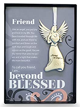 The Grandparent Gift Co Beautiful Silver Finish Metal Angel with Sentimental Beyond Blessed Poem  Friend