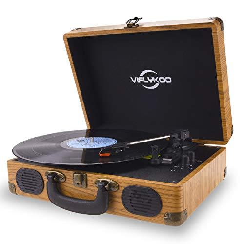 Platine Vinyle,VIFLYKOO Platine Vinyle à encodeur numérique portabl Bluetooth avec Haut-parleurs stéréo intégrés à Trois Vitesses 33/45/78 TR / Min et entrée / Sortie AUX - Bois Naturel