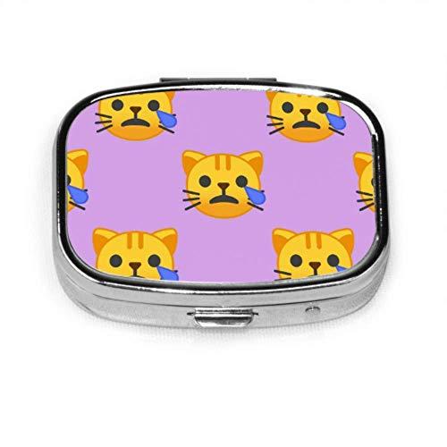 Gato enojado llorando Cara triste Estuches lindos para pastillas Pastillero Organizador Estuche