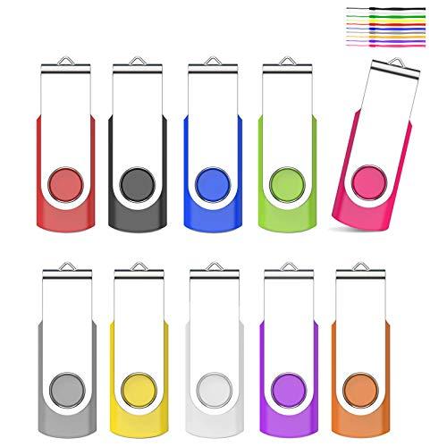kacai 10 Pezzi 32GB Chiavetta USB 2.0 Pen Drive 32 Giga Chiavette USB, Pennetta USB Rotazione a 360 ° Penna USB Unità Memoria Flash Penne USB,Chiave USB Con cordino Memoria Stick(Multicolore)