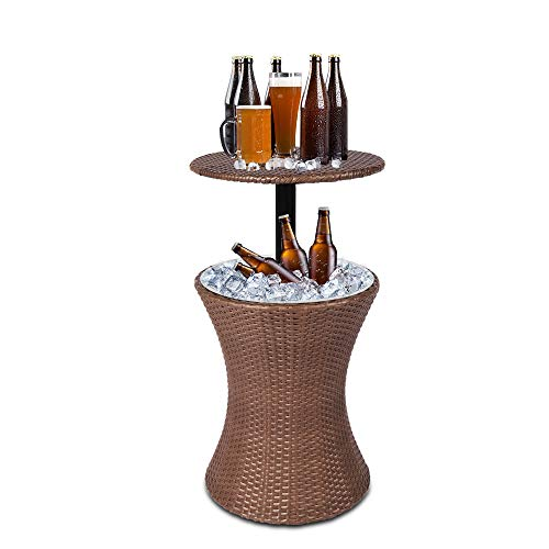 bigzzia Cocktail Table, 3 in1 Ice Cooler Table Cool Wicker Rattan Bar Table Outdoor Patio Ice Bucket Adjustable Heigh For Bars Beaches Beers Cocktails Wines Drinks Milk