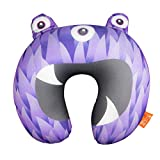 Gone Travelling Kids Travel Pillow - Children's Neck Cushion Support with Microbeads - Monster Designed Neck Pillow for Flights, Trains and Journeys to Provide Smooth Comfort - Purple