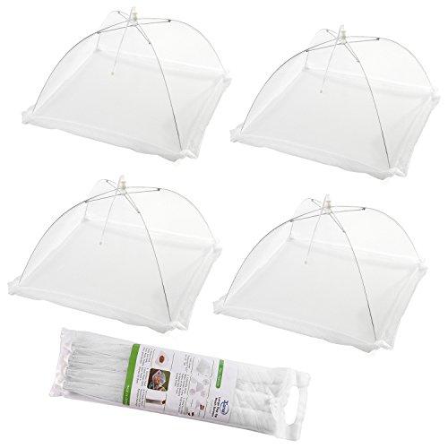 4 piezas de gran pantalla de malla desplegable de alimentos tiendas de campaña - Mantener fuera de las moscas, insectos, mosquitos - reutilizable