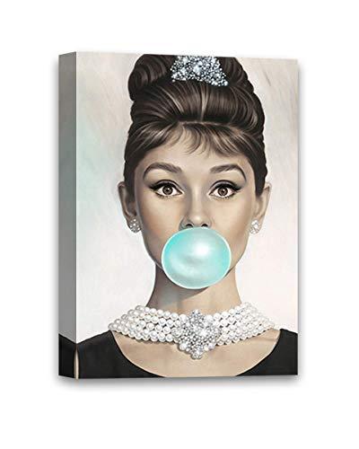 Vizor Audrey Hepburn Wall Art Audrey Hepburn Wall Decor Fashion Star Blue Bubble Gum Audrey Hepburn Decor Canvas - Home Decorations Decor Kitchen Living Home Decor - Ready to Hang