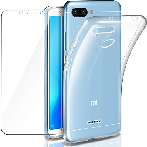 Leathlux Funda Redmi 6 Funda + Protector de Pantalla de Cristal Templado, Suave Transparente Silicona Protectora TPU Gel Fina Carcasa para Xiaomi Redmi 6 5.45 (no para Redmi 6 A/Redmi 6 Pro)