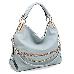 Blue With Rhinestone & Chain Top Handle Shoulder Bag