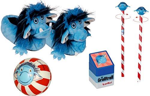 Der Grolltroll DieSpiegelburg 4-teiliges Lern- und Spiel-Set 16176 15405 16012 15230 Hausschuhe + Knautschball + Bleistift mit Topper + Stempel-Turm