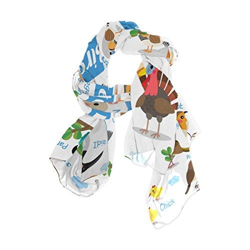 Ahomy Damen Schal, Cartoon, niedlicher Vogel, Papagei, Türkei, Flamingo, Specht, Hühnchen, Sonnenschutz, Strandschal, leicht, lang