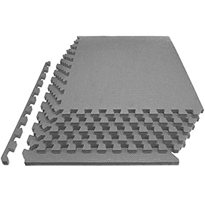 "ProsourceFit Extra Thick Puzzle Exercise Mat 1"", EVA Foam Interlocking Tiles for Protective, Cushioned Workout Flooring for Home and Gym Equipment, Grey"