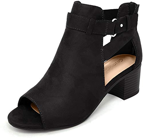 City Classified Women's Cutout Side Strap Mid Black Chunky Heel Fashion Ankle Bootie Boots Black 7