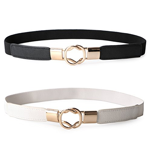 JASGOOD 2 Pack Women Retro Elastic Stretchy Metal Buckle Skinny Waist Belt 1 inch Wide,,Black+White,FIts Waist 33-42 Inches