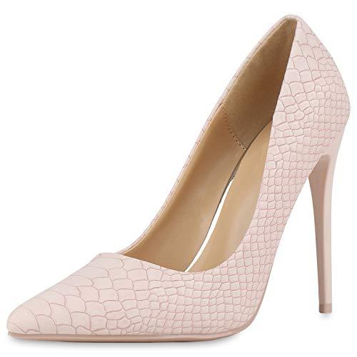 SCARPE VITA Damen Pumps High Heels Spitze Stiletto Schuhe Kroko Partyschuhe Leder-Optik Absatzschuhe 186248 Rosa Kroko 38