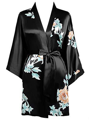 BABEYOND Morgenmantel Damen Kurz Blumen Muster Kimono Satin Robe Sommer Leicht Bademantel Mini Damen Schlafmantel Elegant Nachtwäsche(Stil4-Schwarz)