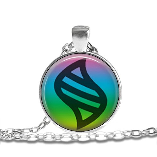 MEGA Stone Symbol - Bezel Pendant Necklace Silver Plated AMZN52