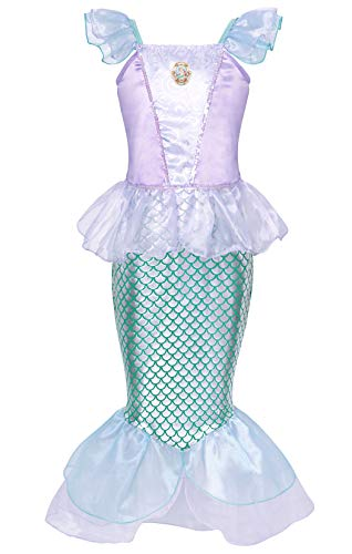 Jurebecia Niñas Sirena Disfraz Princesa Vestir Fiesta Cumpleaños Halloween Niños Vestidos 2-3 Años Azul