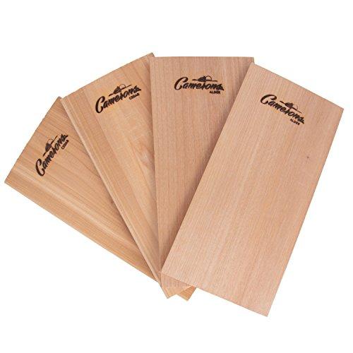 Camerons Products Grilling Planks - Alder - Premium 5.5 x 11.5' Alder for Barbecue Salmon, Seafood, Steak, Burgers, Pork Chops, Vegetables and More (Cedar/Alder, 4)