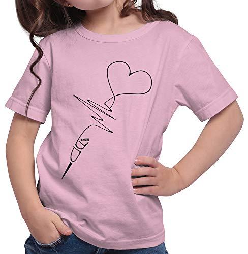 HARIZ Mädchen T-Shirt Darts Heartbeat Dart Sprüche Dartpfeile Sport Fun Trikot Plus Geschenkkarten Rosa 164/14-15 Jahre