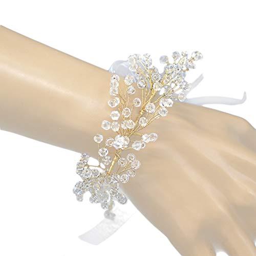 Pulseira Amosfun de cristal para madrinha de casamento com flores e flores de formatura com fita para decoração de festa de casamento (dourado)