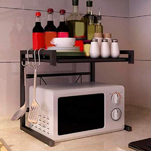 GOTOTOP Estante de Horno microondas Extensible con 4 Ganchos extraíbles, Soporte de Acero al Carbono para Microondas, Carga 25 kg, 66 x 45cm