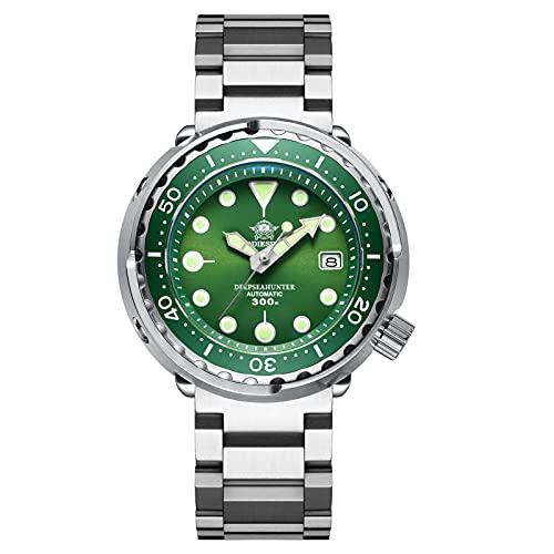 ADDIESDIVE Reloj de buceo automático para hombre, con cristal de zafiro, correa de acero inoxidable, color verde
