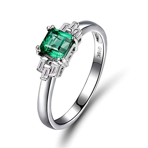 AnazoZ Anillo Mujer Piedra Esmeralda,Anillos Oro Blanco 18 Kilates Plata Verde Rectángulo Esmeralda Verde 0.64ct Diamante 0.16ct Talla 6,75