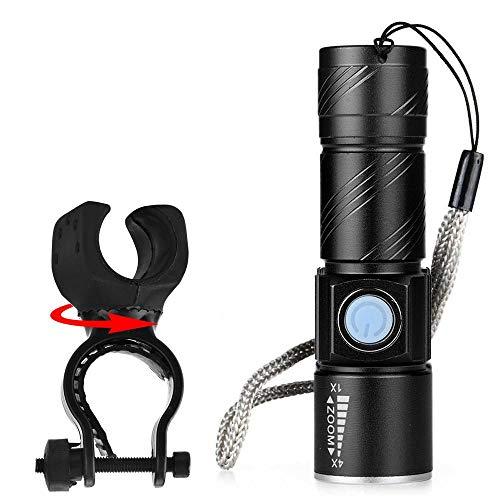 XWYWP Juego de luces de bicicleta USB recargable LED bicicleta luz Ciclismo linterna modos LED bicicleta luces Sets lámpara antorcha impermeable Zoomable negro
