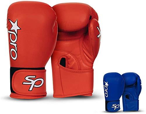 Starpro Boxhandschuhe Muay Thai Training - 10oz 12oz | Rindsleder Pro Sparring Boxsack Kickboxen Sandsack Punchinghandschuhe Mitts Boxing Gloves | Blau Rot für Männer und Frauen