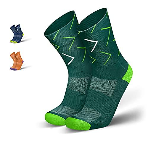 INCYLENCE Forward Sportsocken lang, leichte Running Socks, atmungsaktive Funktionssocken mit Anti-Blasen Schutz, Socken, Petrol, Neon-grün, 35-38