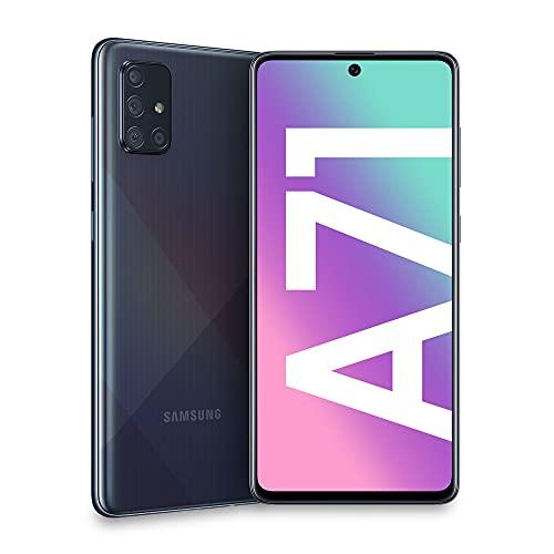 "Samsung Galaxy A71 Smartphone, Display 6.7"" Super AMOLED, 4 Fotocamere Posteriori, 128 GB Espandibili, RAM 6 GB, Batteria 4500 mAh, 4G, Dual Sim, Android 10, Prism Crush Black"