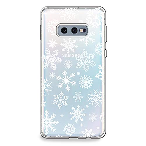 CasesByLorraine Samsung Galaxy S10e Case, Christmas Snowflakes Clear Transparent Case Xmas Holiday Flexible TPU Soft Gel Protective Cover for Samsung S10e (P65)