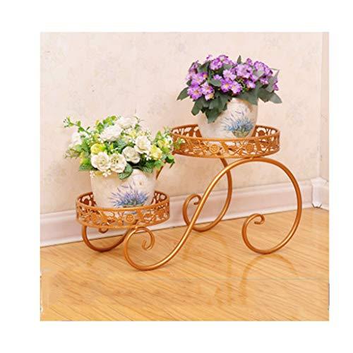 Pot de fleurs Support de fleurs multicouche Windowsill Desk Plante charnue Creative Iron Art Support de fleurs pour balcon (Couleur : Copper color)