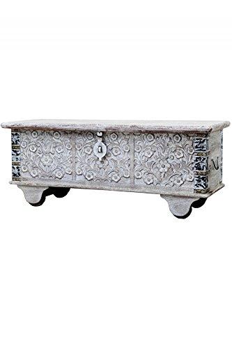 Orientalische Truhe Kiste aus Holz Daher 116cm White Wash | Vintage Sitzbank mit Aufbewahrung für den Flur | Aufbewahrungsbox mit Deckel im Bad | Betttruhe als Kissenbox oder Deko im Schlafzimmer - 2