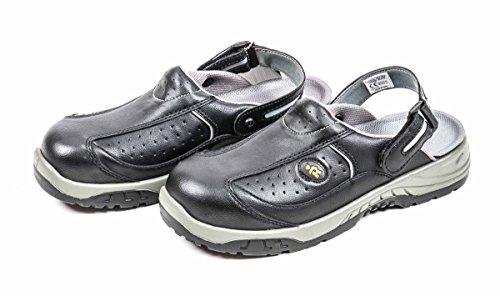 EuroRoutier Sicherheitssandale, Clogs atmungsaktiv, Sicherheitschuh Trendy Black Schuhgröße (45)