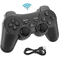 Powcan Mando Inalámbrico PS3, Bluetooth PS3 Gamepad Controller Doble vibración Mando a Distancia Joystick para Playstation 3 y PC Windows 7/8/9/10 con Cable de Carga USB (Negro)