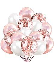 60 Roseguld Konfettiballonger, 50 Klassiska Latexballonger + 10 Transparenta Konfettiballonger. Dekoration för Födelsedag och Baby Fest