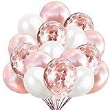 50 Palloncini Rose Gold Bianco e Confetti Balloon Oro Rosa Dorato, 40 Palloncini Classici + 10 Palloncini di Coriandoli Rosegold. Decorazioni per Festa Compleanno e Battesimo