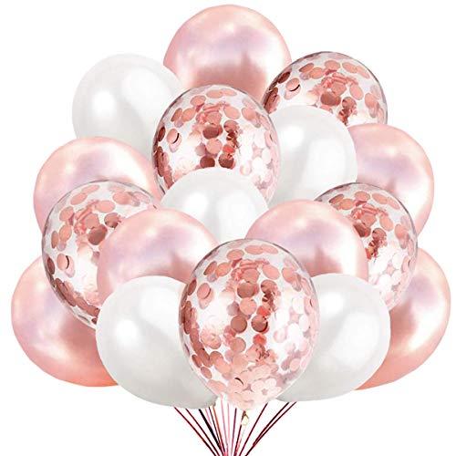 50 Luftballons Rosegold Weiß und Konfetti Ballon Premiumqualität Partyballon Deko Rose Gold Dekoration fur Geburtstag , Baby Dusche Party, Baby Shower
