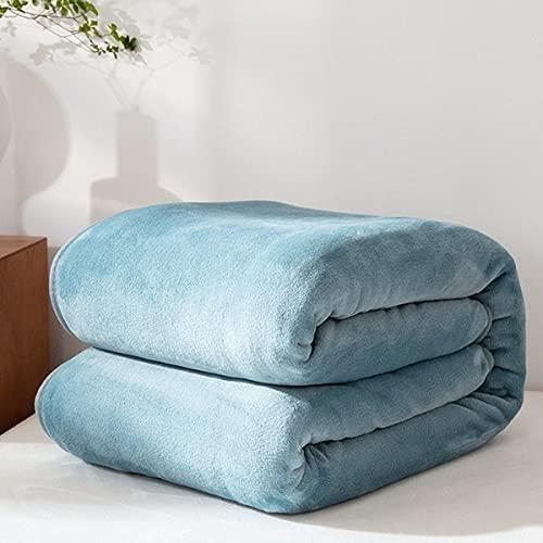 Coperta in lana, trapunta in flanella letto 200x230 cm e calda coperta grigio scuro, morbida coperta in microfibra per tutte le stagioni (grigio blu, 200_x_220_cm)