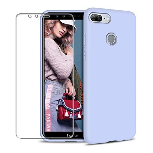 Funda Huawei Honor 9 Lite + Protector de Pantalla de Vidrio Templado, Carcasa Ultra Fino Suave Flexible Silicona Colores del Caramelo Protectora Caso Anti-rasguños Back Case - Morado Claro